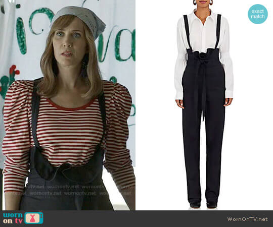 Teija Stretch-Cotton High-Waist Suspender Pants worn by Kristen Wiig on Last Man On Earth