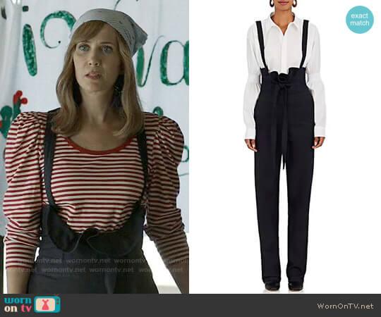 Teija Stretch-Cotton High-Waist Suspender Pants worn by Kristen Wiig on Last Man On Earth
