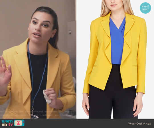 Flounced Jacket by Tahari ASL worn by Lea Michele on The Mayor