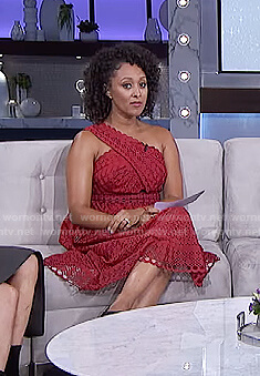 Tamera's red one-shoulder lace dress on The Real