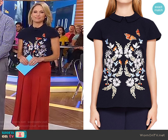 'Enora' Kyoto Gardens Collared Top by Ted Baker worn by Amy Robach  on Good Morning America