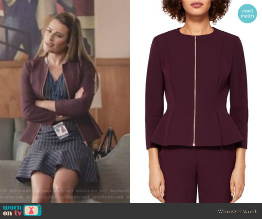 Suria Peplum Zip Front Jacket by Ted Baker worn by Valentina Barella (Lea Michele) on The Mayor