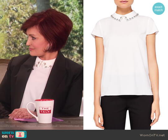 Tillda Embellished Collar Top by Ted Baker worn by Sharon Osbourne on The Talk
