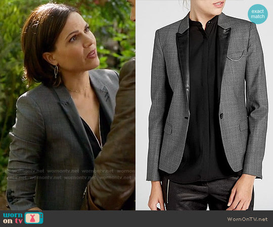 The Kooples Leather Trim Prince of Wales Plaid Jacket worn by Regina Mills (Lana Parrilla) on OUAT