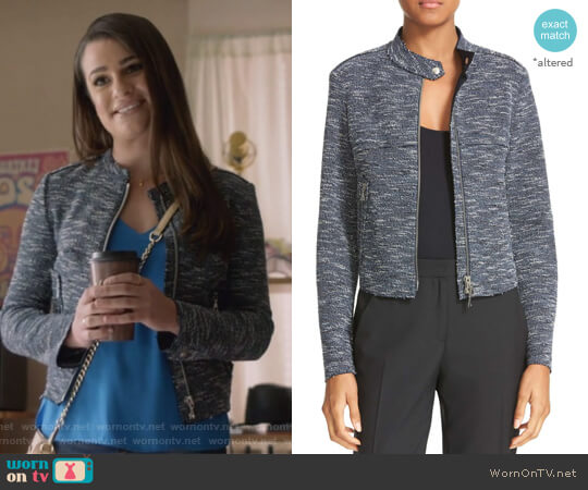 Bavewick K Tweed Zip Front Jacket by Theory worn by Lea Michele on The Mayor