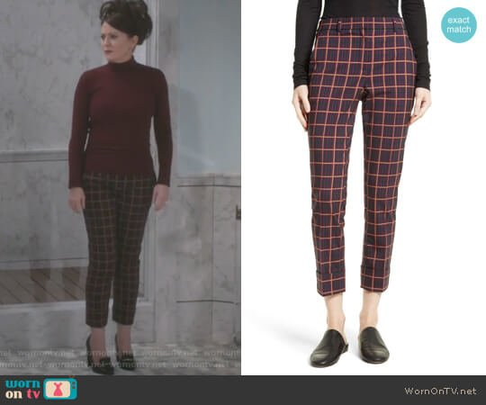 Crop Cuff York Plaid Pants by Theory worn by Megan Mullally on Will & Grace