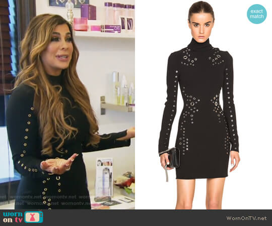 Long Sleeve Grommet Detailed Dress by Thierry Mugler worn by Siggy Flicker  on The Real Housewives of New Jersey