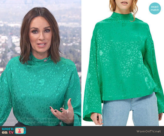 Jacquard Kimono Sleeve Top by Topshop worn by Catt Sadler  on E! News
