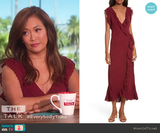 Whitney Wrap Midi Dress by Tory Burch worn by Carrie Inaba on The Talk