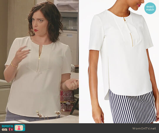 Side-Split Zip-Up Top by Trina Turk worn by Rebecca Bunch (Rachel Bloom) on Crazy Ex-Girlfriend