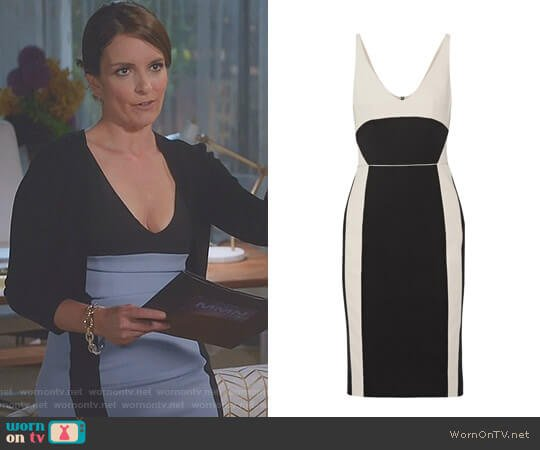 Two-Tone Wool Gabardine Dress by Narciso Rodriguez worn by Tina Fey on Great News