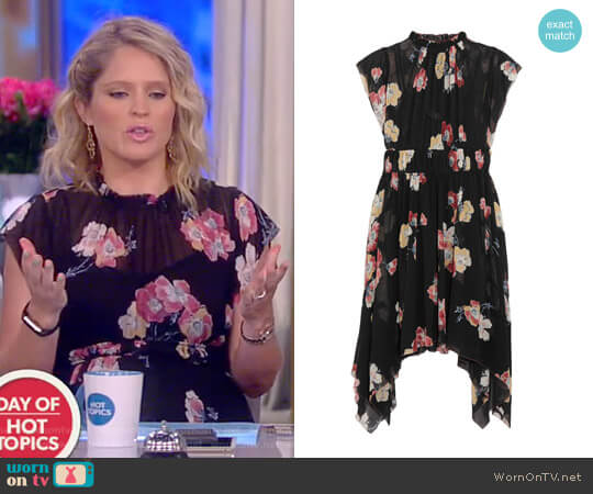 Ulla Johnson 'Luisa' Floral Print Silk-Georgette Dress worn by Sara Haines on The View