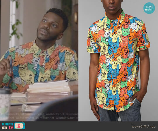 Kitty Button-Down Shirt from Urban Outfitters worn by Bernard David Jones on The Mayor