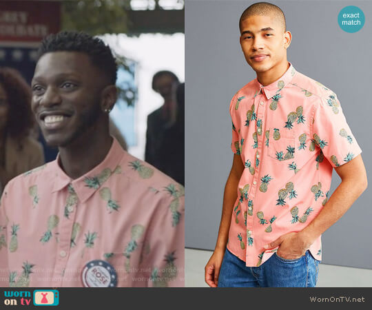 Pineapple Toss Short Sleeve Button-Down Shirt by Urban Outfitters worn by Bernard David Jones on The Mayor