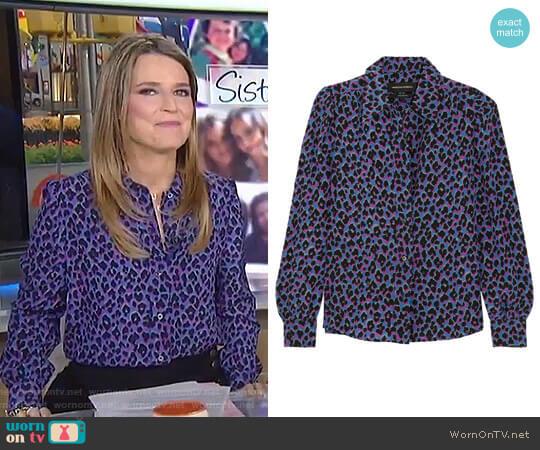 'Elise' Animal Print Silk Shirt by Vanessa Seward worn by Savannah Guthrie on Today