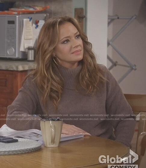 Vanessa's brown split turtle neck sweater on Kevin Can Wait