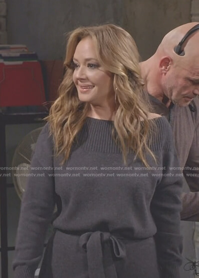 Vanessa's grey off-shoulder sweater dress on Kevin Can Wait