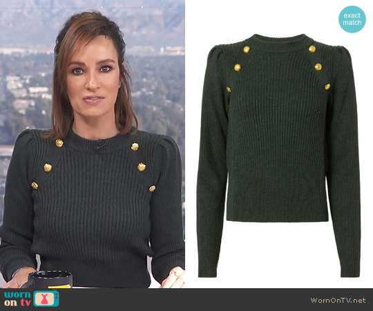 Button Puff Sleeve Sweater by Veronica Beard worn by Catt Sadler  on E! News