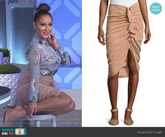 Hazel Side-Ruched Silk Ruffle Skirt by Veronica Beard worn by Adrienne Houghton  on The Real