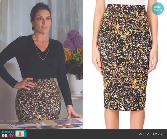 Marble-Print Pencil Skirt by Victoria Beckham worn by Diana St. Tropez (Tina Fey) on Great News