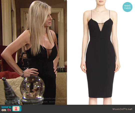Victoria Beckham Sheer Inset Crepe Tulle Dress worn by Eileen Davidson on The Young & the Restless