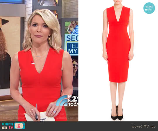 Sleeveless V-Neck Sheath Dress by Victoria Beckham worn by Megyn Kelly  on Today