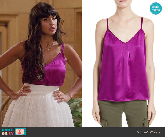 Vince Pleated Silk Camisole worn by Tahani Al-Jamil (Jameela Jamil) on The Good Place