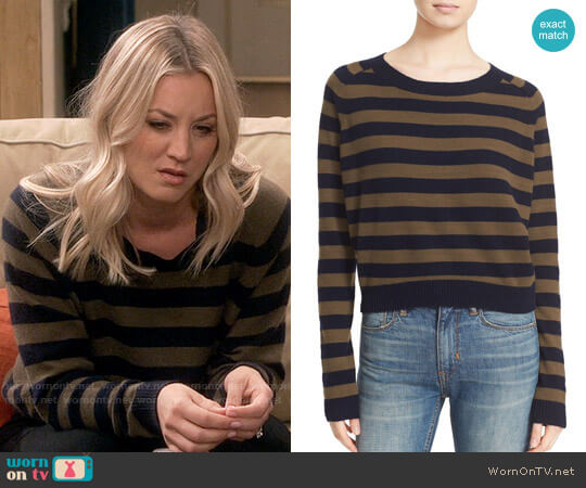 Vince Regiment Stripe Cashmere Sweater worn by Penny Hofstadter (Kaley Cuoco) on The Big Bang Theory