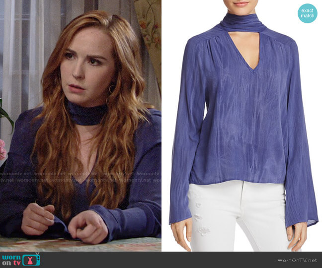 Vintage Havana Textured Choker Top worn by Mariah Copeland (Camryn Grimes) on The Young & the Restless