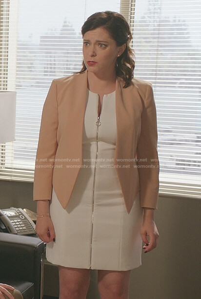 Rebecca's white zip front mini dress on Crazy Ex-Girlfriend