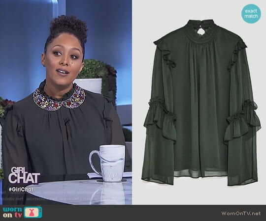 Frilled Blouse by Zara worn by Tamera Mowry on The Real