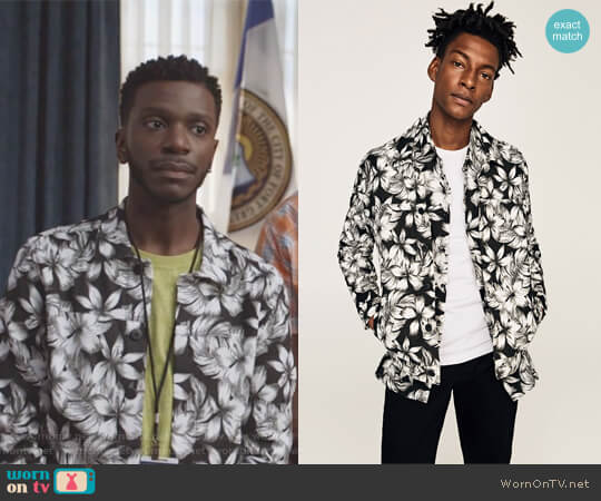 Light weight Floral Print Jacket by Zara worn by Jermaine Leforge (Bernard David Jones) on The Mayor