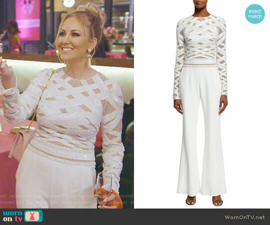 Long-Sleeve Embellished-Top Jumpsuit by Zuhair Murad worn by Stephanie Hollman  on The Real Housewives of Dallas