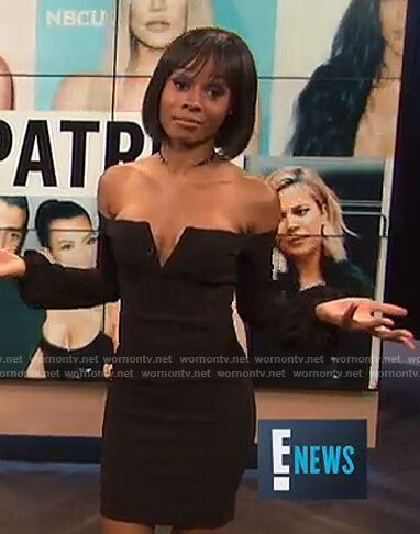 Zuri's black off-shoulder mini dress on E! News
