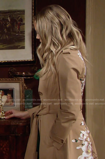 Abby's floral emboridered trench coat on The Young and the Restless