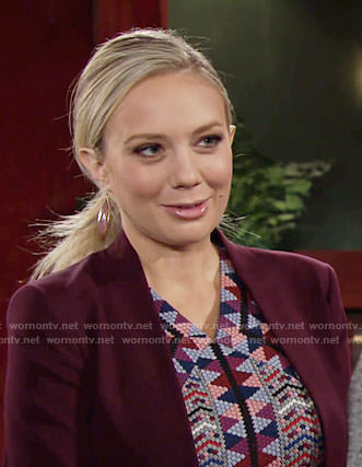 Abby's geometric pattern dress on The Young and the Restless