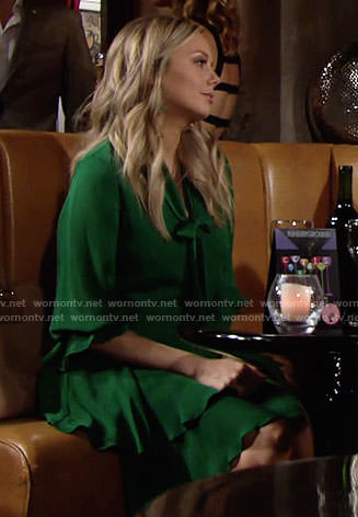 Abby's green tie-neck dress on The Young and the Restless