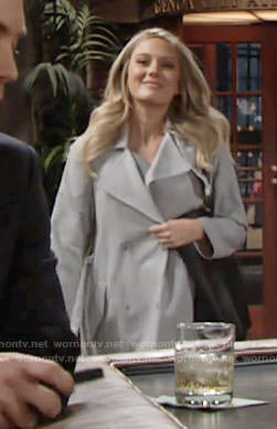 Abby's grey trench coat on The Young and the Restless