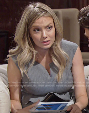 Abby's grey peplum dress on The Young and the Restless