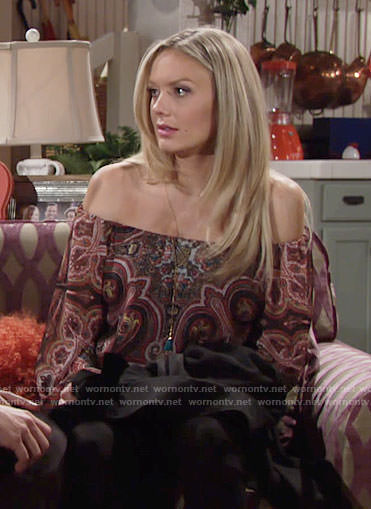 Abby's paisley print off-shoulder top on The Young and the Restless