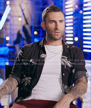 Adam Levine's black palm tree print shirt on The Voice