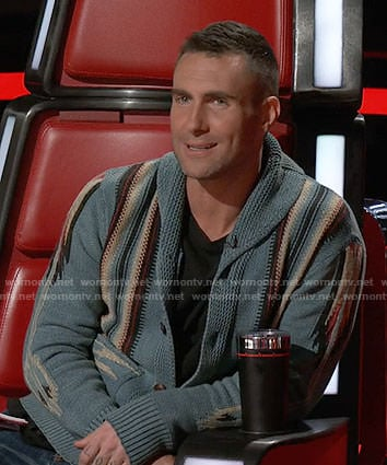 Adam Levine's blue patterned cardigan on The Voice