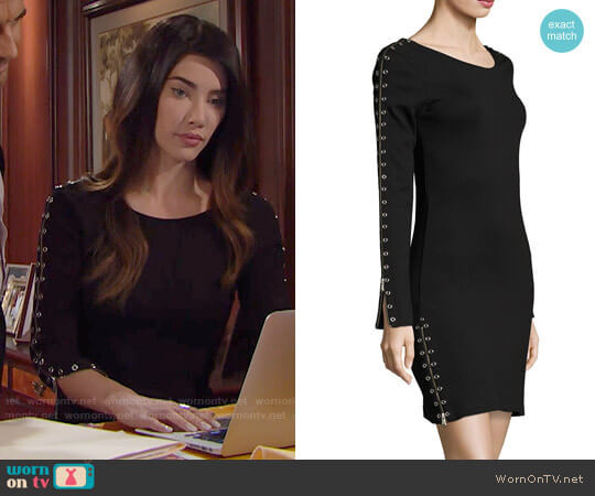 McQ Alexander McQueen Zip-Sleeve Fitted Short Dress worn by Jacqueline MacInnes Wood on The Bold & the Beautiful
