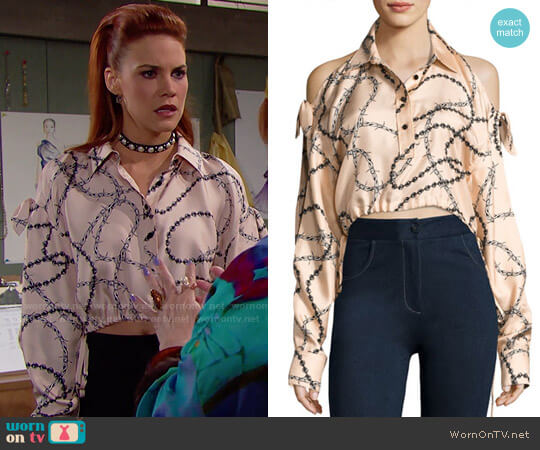 Alexander Wang Cropped Cold-Shoulder Chain-Print Blouse worn by Courtney Hope on The Bold & the Beautiful