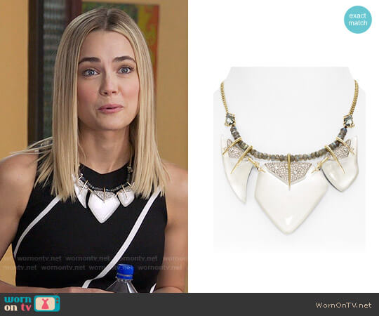 Alexis Bittar Swarovski Crystal-Encrusted Abstract Petal Bib Necklace worn by Rebecca Rittenhouse on The Mindy Project