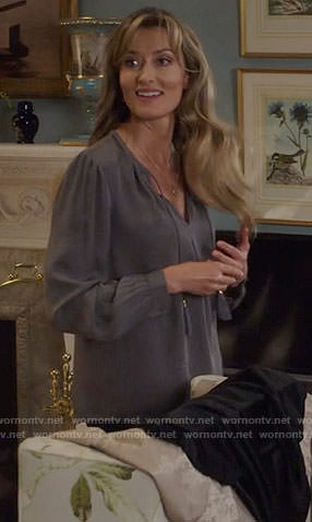 Alex's grey blouse with tassels on Designated Survivor