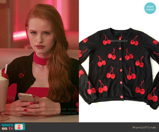 Alice + Olivia Cherry Cardigan worn by Madelaine Petsch on Riverdale