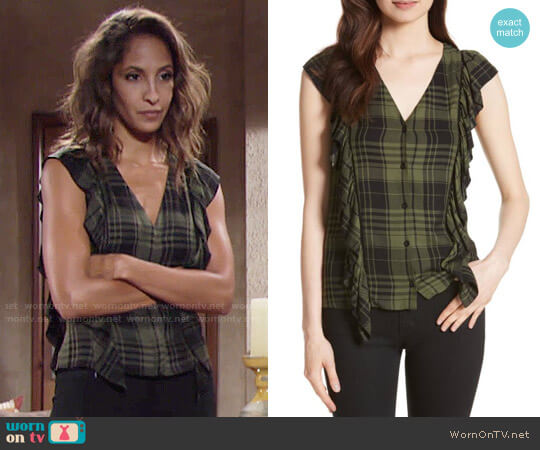 Alice + Olivia Janet Top worn by Christel Khalil on The Young & the Restless