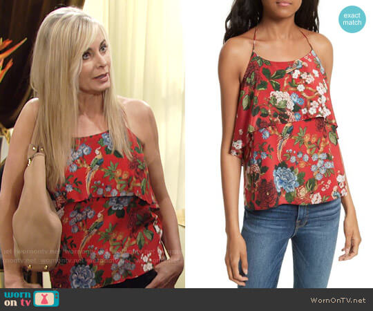 Alice + Olivia Marybeth Top worn by Eileen Davidson on The Young & the Restless