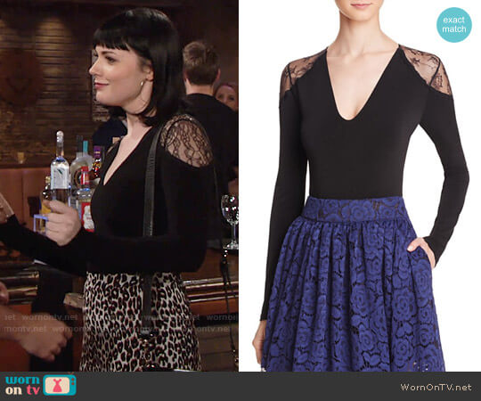Alice + Olivia Nancey Lace Bodysuit worn by Tessa Porter (Cait Fairbanks) on The Young & the Restless